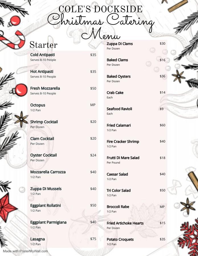 Christmas menu 2020